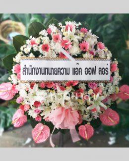 พวงหรีดดอกไม้สดขนาดใหญ่ โทนสีชมพู โดดเด่นด้วยดอกหน้าวัว