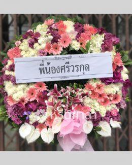 พวงหรีดไซส์ XXL จัดด้วยดอกไม้สดทั้งหมด โทนสีม่วง-ขาว แซมด้วยสีชมพู